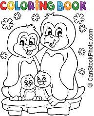 coloração, família, 1, tema, livro, pingüim