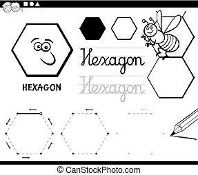 coloração, formas, básico, geomã©´ricas, hexágono, página