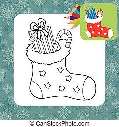 coloração, gifts., natal, página