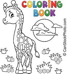 coloração, girafa, livro, jovem