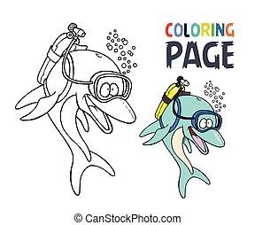 coloração, golfinho, caricatura, página