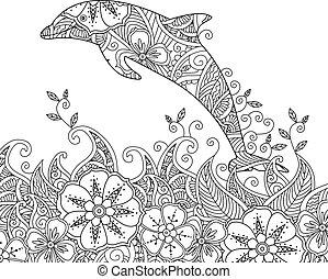 coloração, golfinho, um, pular, sea., página