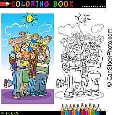 coloração, grupo, adolescentes, feliz