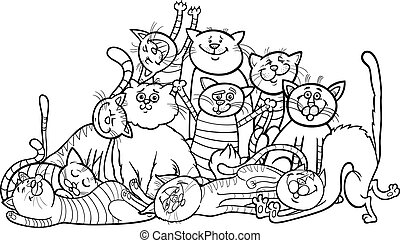 coloração, grupo, caricatura, gatos, livro, feliz