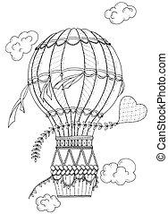 coloração, heart., adultos, doodle, balloon, inspirado, ar, livro, pretas, zentangle, padrão, branca, aeróstato, kids.