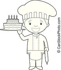 coloração, ilustração, vetorial, massa, fácil, chef., caricatura