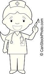 coloração, ilustração, vetorial, nurse., fácil, caricatura