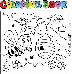 coloração, imagem, bugs, tema, livro, 4