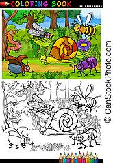 coloração, insetos, bugs, ou, livro, caricatura