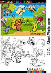 coloração, insetos, bugs, página, livro, ou