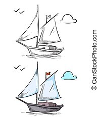 coloração, isolado, mão, ship., fundo, desenhado, branca, bote