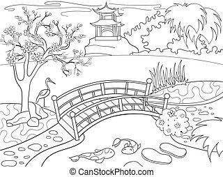 coloração, jardim, natureza, caricatura, japoneses,...