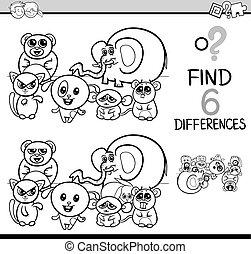 coloração, jogo, diferenças, página