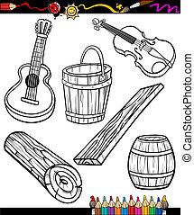 coloração, jogo, livro, objetos, caricatura