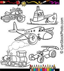 coloração, jogo, livro, transporte