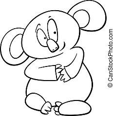 coloração, koala, página, caricatura