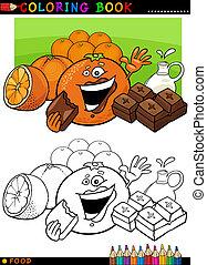 coloração, laranjas, chocolate