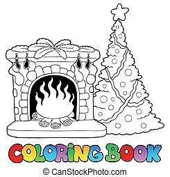 coloração, lareira, livro