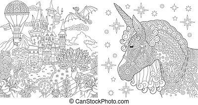 coloração, magia, fairytale, unicórnio, castelo, páginas