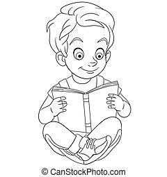 coloração, menino, página, livro leitura