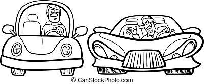 coloração, motorista, malicioso, página, caricatura