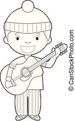 coloração, musician., vetorial, ilustração, fácil, caricatura