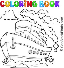 coloração, navio, 2, livro, náutico