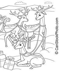 coloração, norte, childrens, animal, nature., claus, veado, mágico, sleighs, logo, polaco, santa, amigos, caricatura