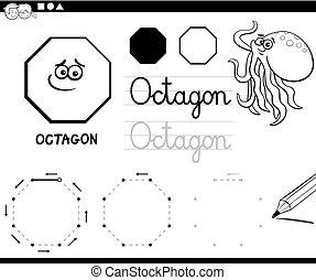coloração, octógono, formas, básico, geomã©´ricas, página