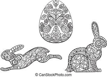coloração, ovo, lebre, símbolos, coelho, páscoa, páginas