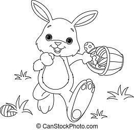 coloração, ovos, coelhinho, páscoa, página, escondendo