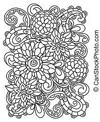 coloração, página, imprimindo, adulto, fundo, linha, flores...