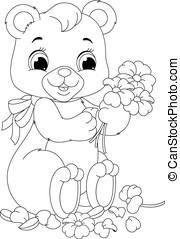 coloração, página, urso