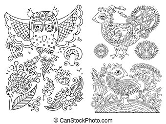 coloração, pássaro branco, livro, pretas, forre desenho, ...