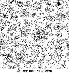 coloração, padrão, folhas, seamless, outono, flores