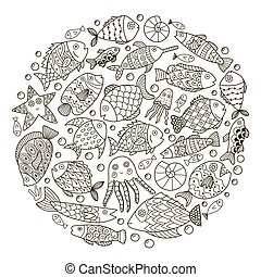 coloração, padrão, peixe, fantasia, forma, livro, círculo