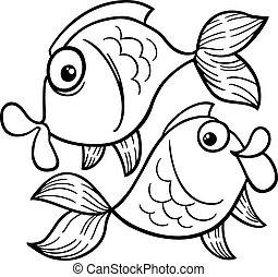 coloração, peixe, ou, peixes, signos, página