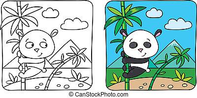 coloração, pequeno, livro, panda