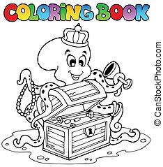 coloração, polvo, livro