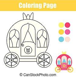 coloração, printable, carriage., página, crianças, atividade, game., desenho, princesa
