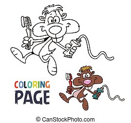 coloração, rato, caricatura, página