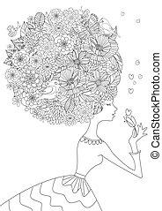 coloração, seu, cabelos formam, floral, menina, livro