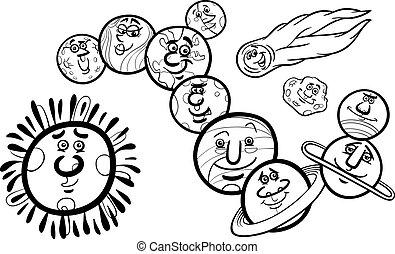 coloração, sistema solar, planetas, página