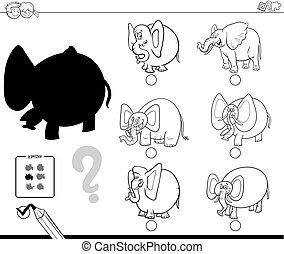 coloração, sombra, livro, jogo, elefantes