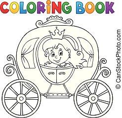 coloração, tema, 1, carruagem, livro, princesa