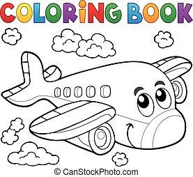 coloração, tema, 2, avião, livro