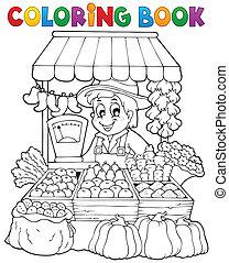 coloração, tema, 2, livro, agricultor