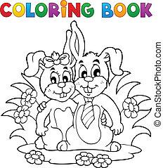 coloração, tema, 2, livro, coelho