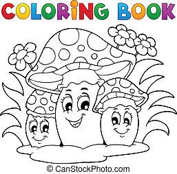 coloração, tema, 2, livro, cogumelo