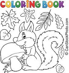coloração, tema, 2, livro, esquilo